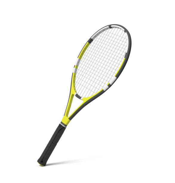 3d rendering of a professional tennis racquet with black and yellow stripes. stock photo