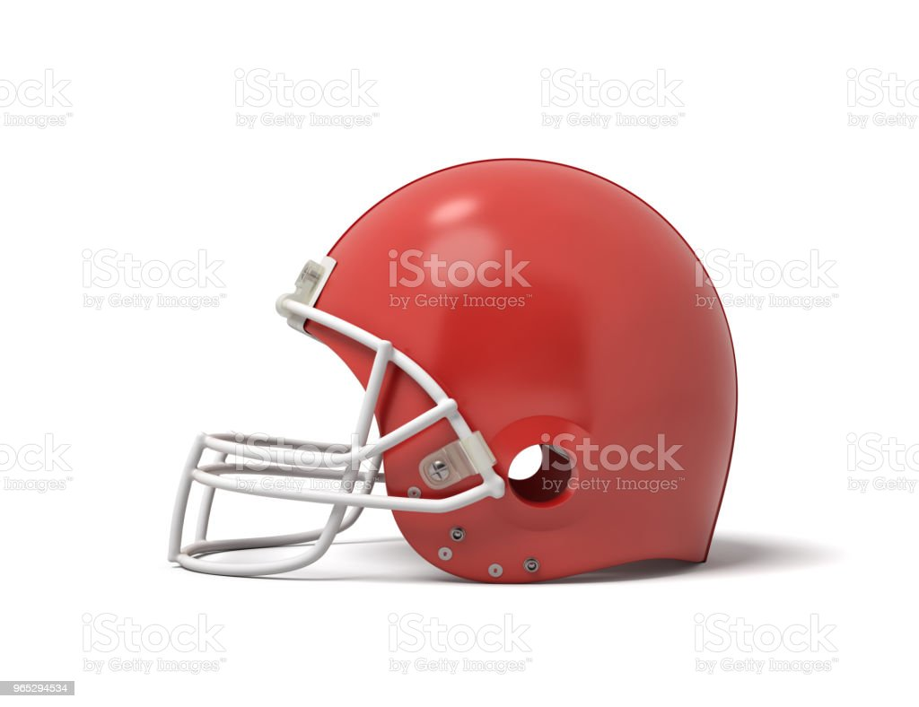 3d rendering of a red American football helmet with a white protective grid on a white background zbiór zdjęć royalty-free