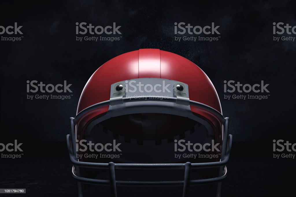 3d rendering of a red American football helmet with its front guard...