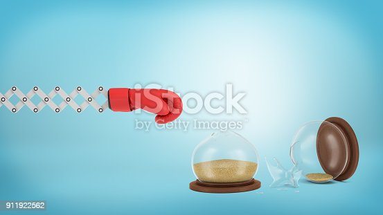 160558362 istock photo 3d rendering of a red boxing glove on a metal extending arm near a broken hourglass on a blue background 911922562