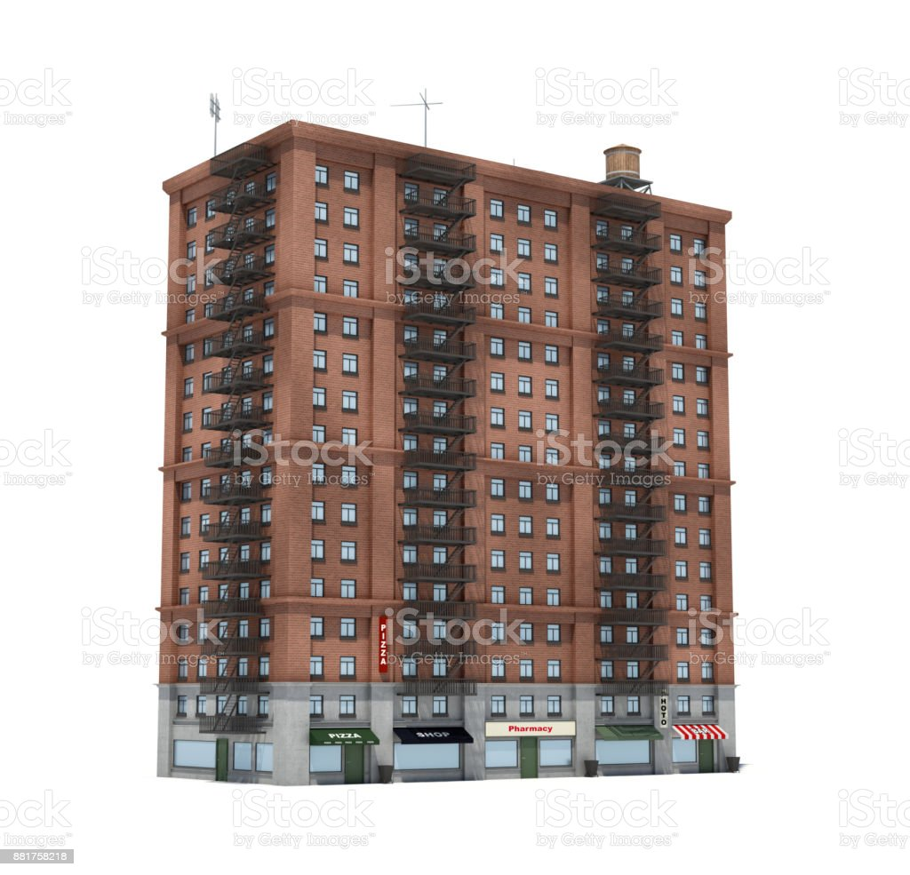 3d rendering of a red brick apartment building with fire escapes and shops on the ground floor. stock photo