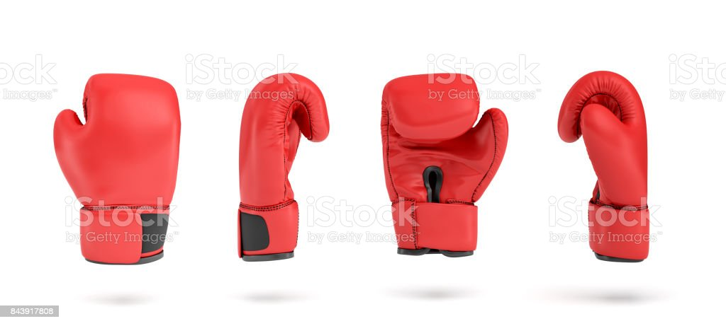 3d rendering of a red right boxing glove in four different angle views stock photo