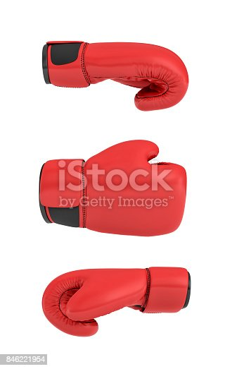 istock 3d rendering of a red right boxing gloves isolated on white background 846221954