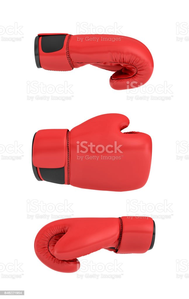 3d rendering of a red right boxing gloves isolated on white background stock photo