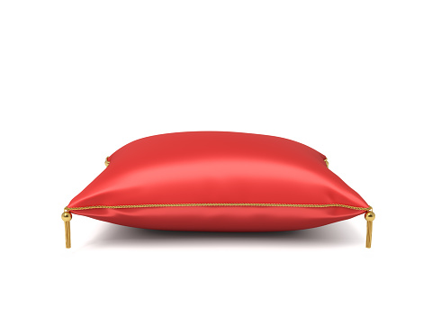 3d rendering of a red silk royal pillow with golden tussels isolated on a white background. Home decor. Royal wealth. Leaning on pillow.
