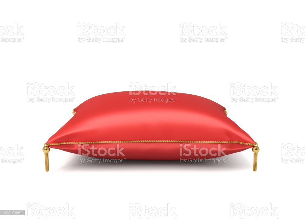 3d rendering of a red silk royal pillow with golden tussels isolated on a white background stock photo
