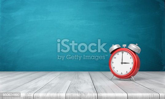 istock 3d rendering of a red vintage alarm clock with metal bells stands on a wooden desk in front of blue background 850624892