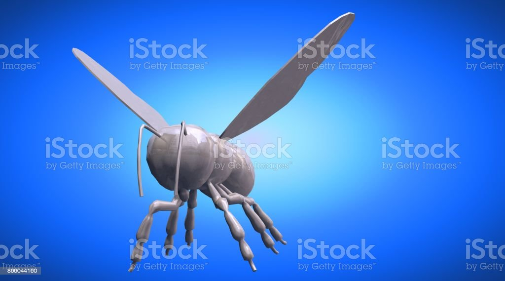 3d rendering of a reflective bee insect on a background stock photo