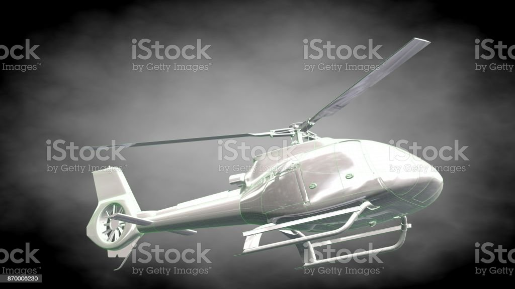 3d Rendering Of A Reflective Helicopter With Green Outlined