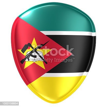 istock 3d rendering of a Republic of Mozambique flag icon. 1053156854