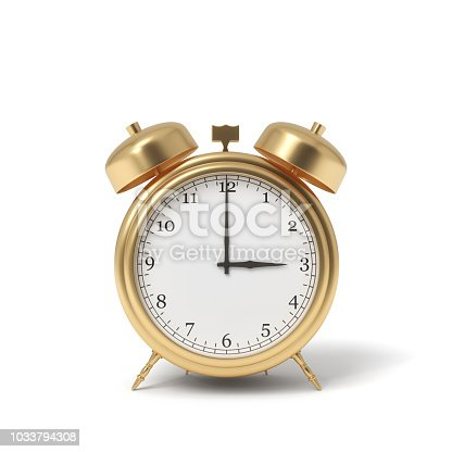 3d rendering of a retro alarm clock covered in gold standing on a white background. Time is money. Precious money. Best moment for investment.