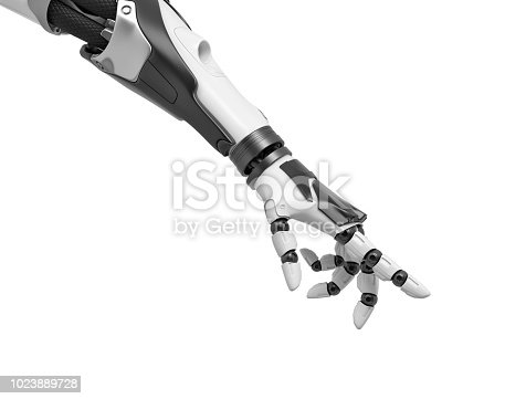 istock 3d rendering of a robotic arm with fingers half-curled and the index finger pointing out 1023889728