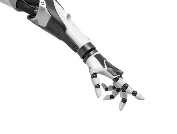 3d rendering of a robotic arm with fingers half-curled and the index finger pointing out stock photo