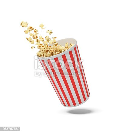 istock 3d rendering of a round striped popcorn bucket hanging in the air with popcorn flying out of it 968757582