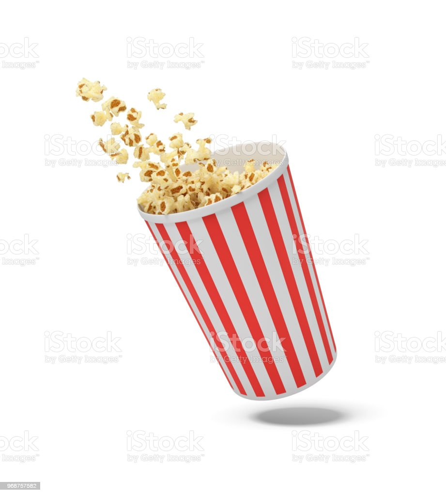 3d rendering of a round striped popcorn bucket hanging in the air with popcorn flying out of it stock photo