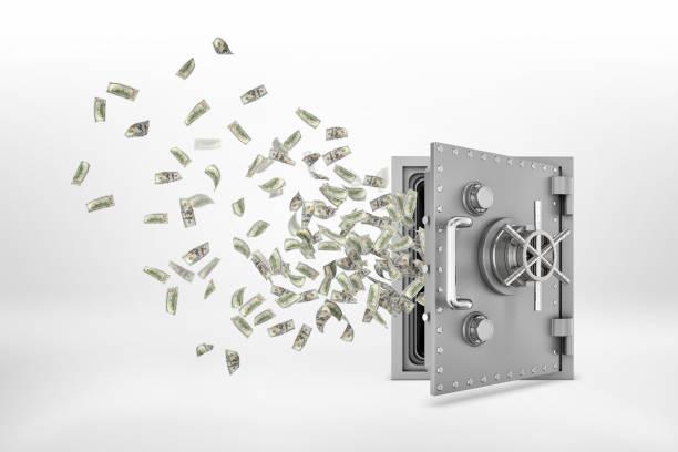 3d-rendering von einem halb geöffneten stahl safe mit viele papier-dollar-banknoten fliegen aus ihm heraus. - safe stock-fotos und bilder