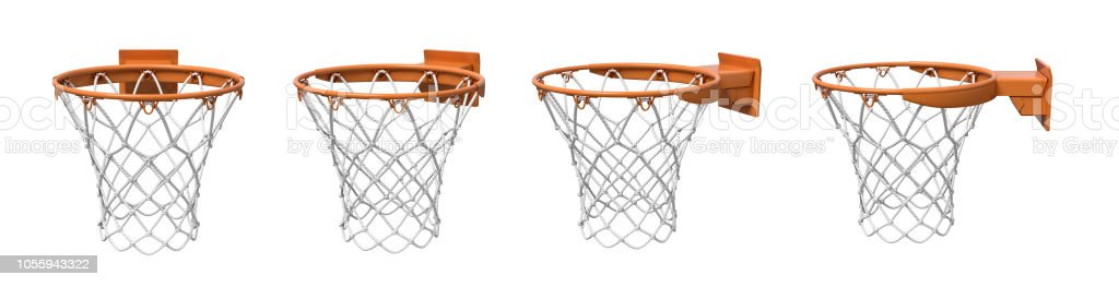 3d rendering of a set made of four basketball baskets with orange loop and fixing bracket. royalty-free stock photo