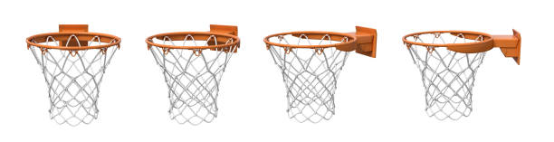 3d rendering of a set made of four basketball baskets with orange loop and fixing bracket. stock photo