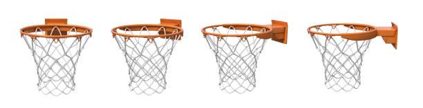 3d-weergave van een verzameling gemaakt van vier basketbal manden met oranje lus en bevestiging beugel. - basketbalbord stockfoto's en -beelden