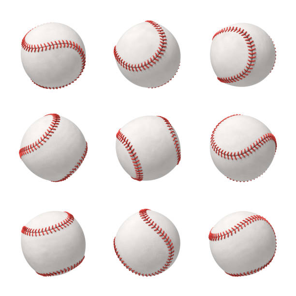 3d rendering of a set made of several white leather baseballs with red stitching hanging on a white background stock photo