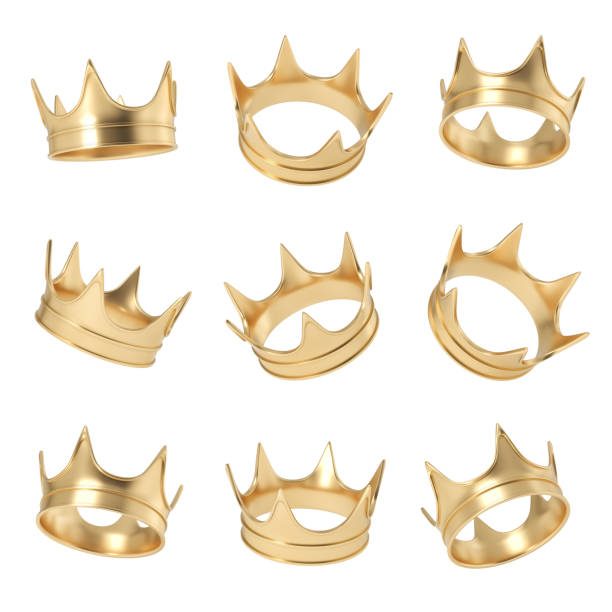 3d rendering of a set made up of several golden crowns hanging on a white background in different angles 3d rendering of a set made up of several golden crowns hanging on a white background in different angles. Royal power. Monarchy and leadership. Precious gold circlet. royalty stock pictures, royalty-free photos & images