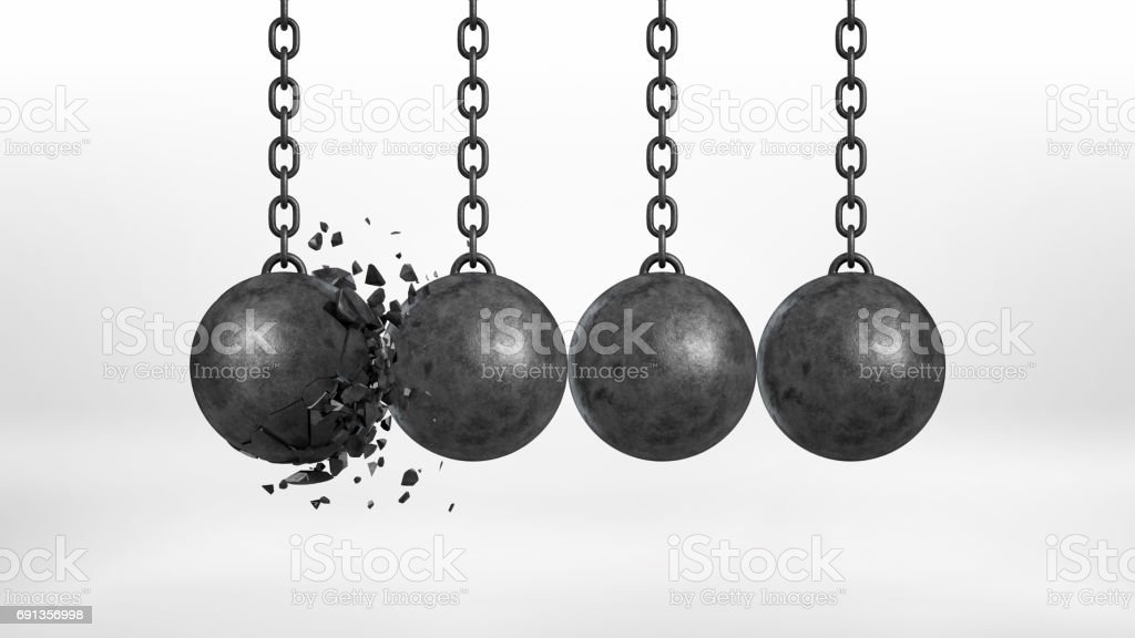 3d rendering of a set of four black iron wrecking balls handing from their chains where one ball is broken stock photo