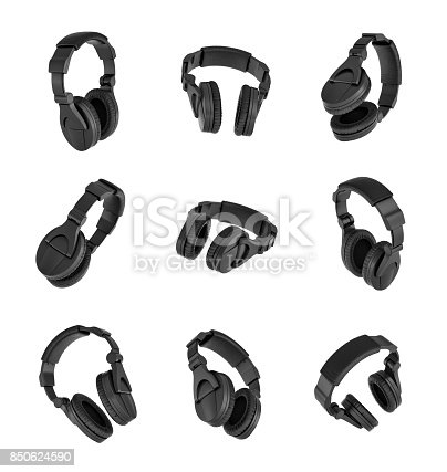 istock 3d rendering of a set of many black headphones in different angles on white background 850624590