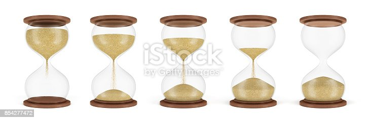 1054812046 istock photo 3d rendering of a set of several hourglasses standing in one row with the sand in different stages of falling down. 854277472