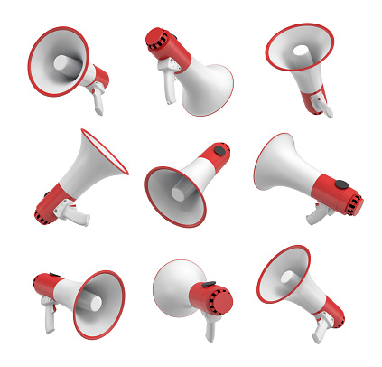 istock 3d rendering of a set of several white and red megaphones in different angles on white background. 857252902