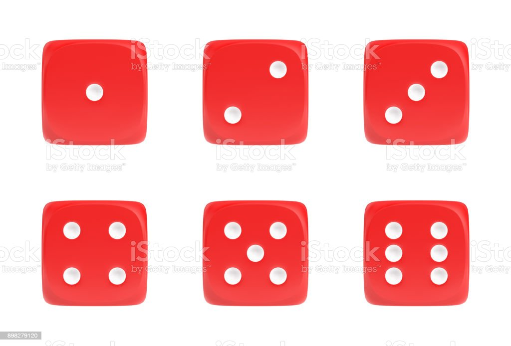 3d rendering of a set of six red dice in front view with white dots showing different numbers stock photo