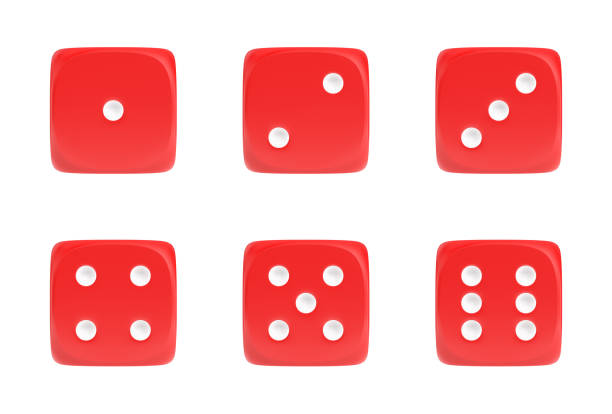 3d rendering of a set of six red dice in front view with white dots showing different numbers - gioco dei dadi foto e immagini stock