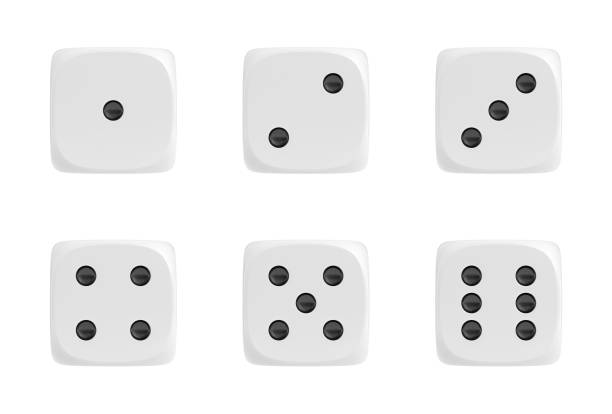 3d rendering of a set of six white dice in front view with black dots showing different numbers - gioco dei dadi foto e immagini stock