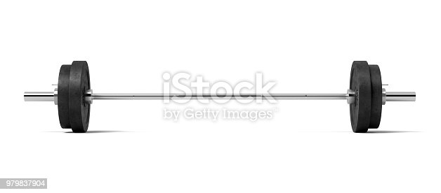 3d rendering of a silver colored metal barbell with several black weight plates on a white background. Fitness and bodybuilding. Sport equipment. Gym weights.