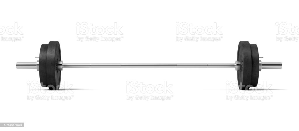 3d rendering of a silver colored metal barbell with several black weight plates on a white background stock photo