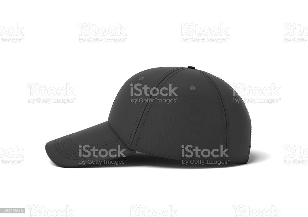 3d rendering of a single black baseball cap with black stitching lying on a white background in a side view royalty-free stock photo