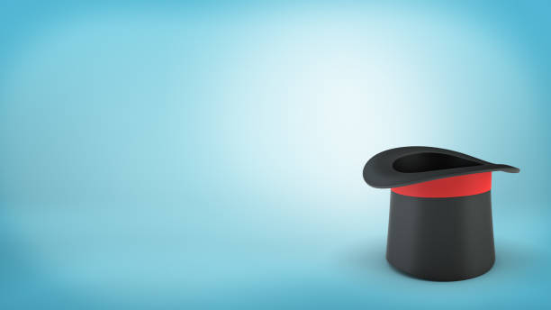 3d rendering of a single black illusionist' hat with a red ribbon stands upside down on a blue background 3d rendering of a single black illusionist's hat with a red ribbon stands upside down on a blue background. Art of illusion. Business tricks. Magician's tools. magician stock pictures, royalty-free photos & images