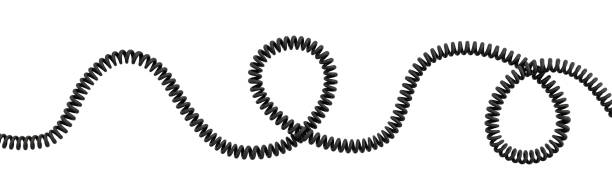 3d rendering of a single curved spiral cable lying on a white background. 3d rendering of a single curved spiral cable lying on a white background. Phone line. Long distance connection. Technologies for staying in touch. telephone line stock pictures, royalty-free photos & images
