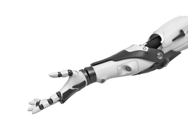 3d-rendering av en enda cyborg arm med handflatan höll upp i vänlig gest - protesutrustning bildbanksfoton och bilder