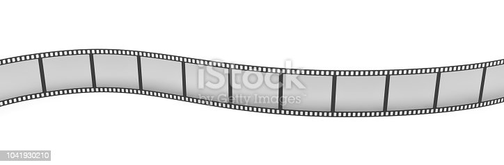 istock 3d rendering of a single film strip arranged in turns and bends on white background. 1041930210