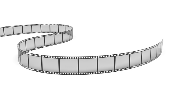 3d rendering of a single film strip arranged in turns and bends on white background