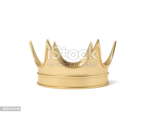 istock 3d rendering of a single golden royal crown resting on a white background 909404348