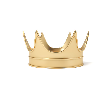 3d rendering of a single golden royal crown resting on a white background. Monarchy symbol. Royal treasure. Winner and leader.