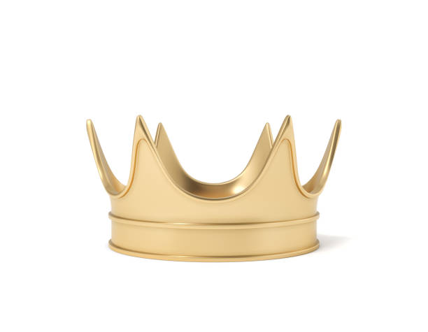 3d rendering of a single golden royal crown resting on a white background - crown stock photos and pictures