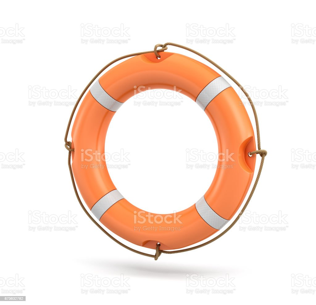 3d rendering of a single isolated orange life buoy hanging over a white background. stock photo