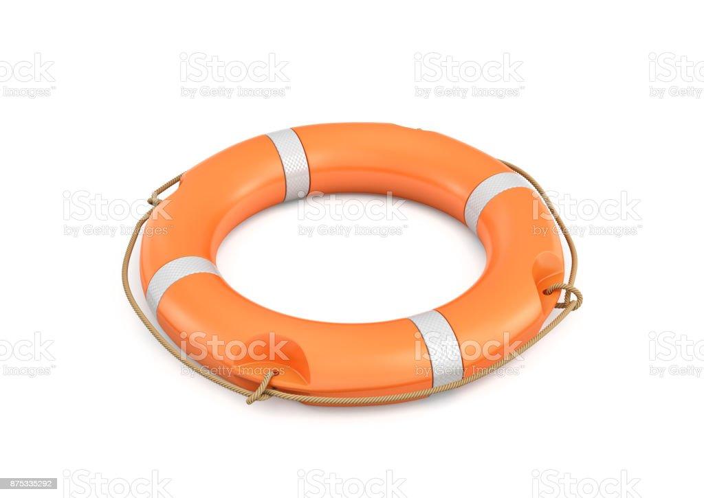 3d rendering of a single isolated orange life buoy isolated on white background. stock photo