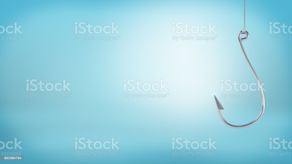 3d rendering of a single large silver hook hangs from a string without any catch on a blue background stock photo