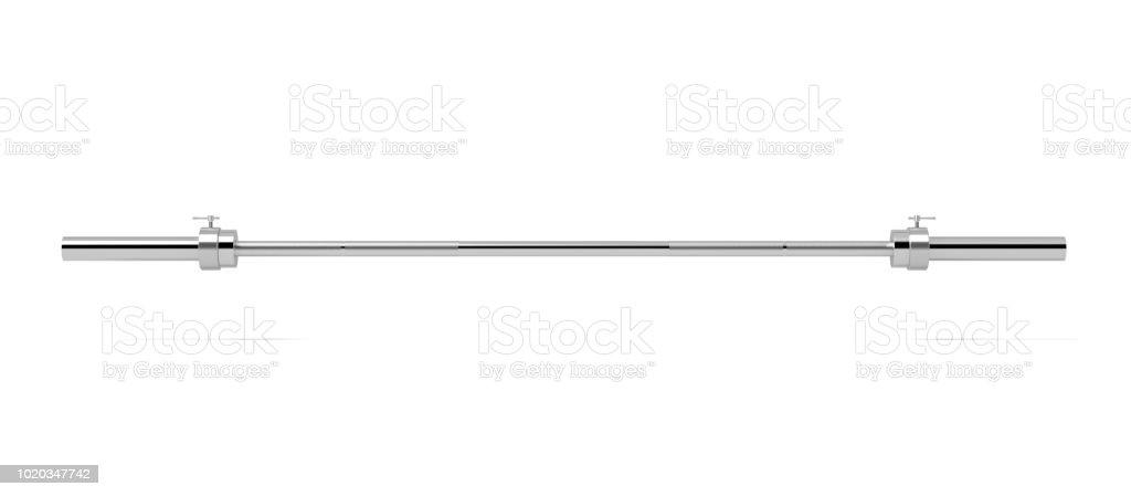 renderização 3D de uma única barra de metal sem qualquer pesos pendurados horizontalmente sobre um fundo branco - foto de acervo