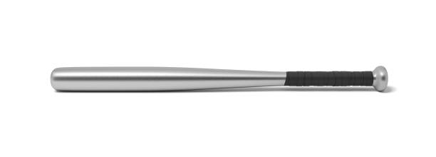 3d rendering of a single metal baseball bat with a wrapped handle isolated on a white background. - baseball bat stock photos and pictures