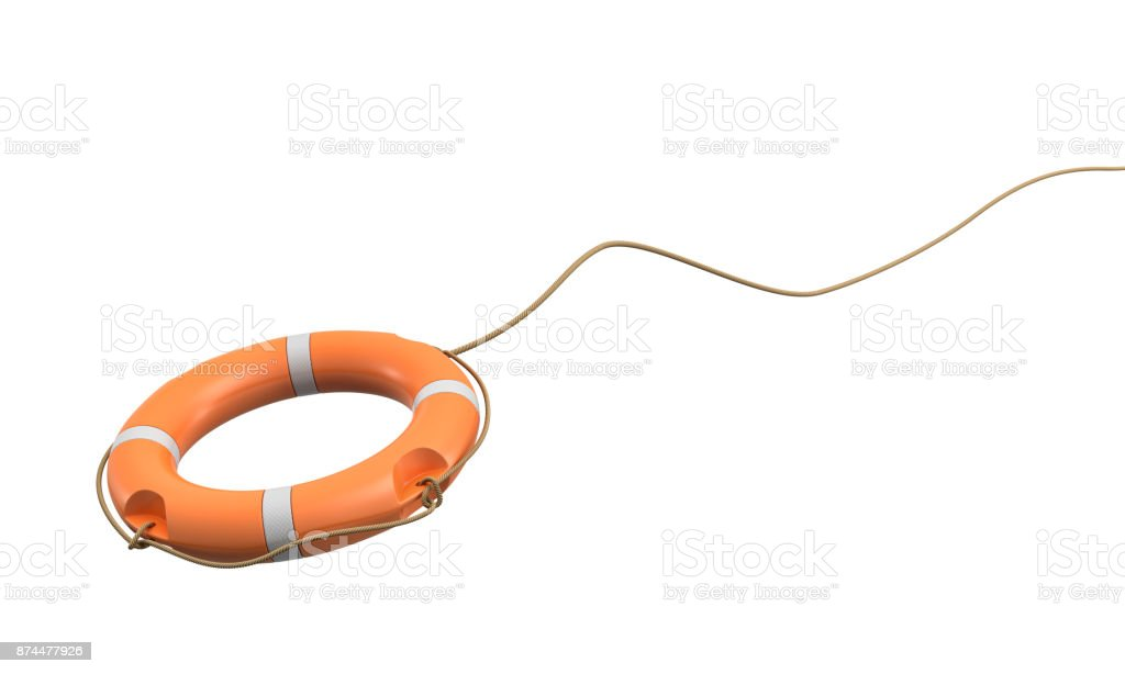 3d rendering of a single orange life buoy on a white background hanging from a long rope in motion. stock photo