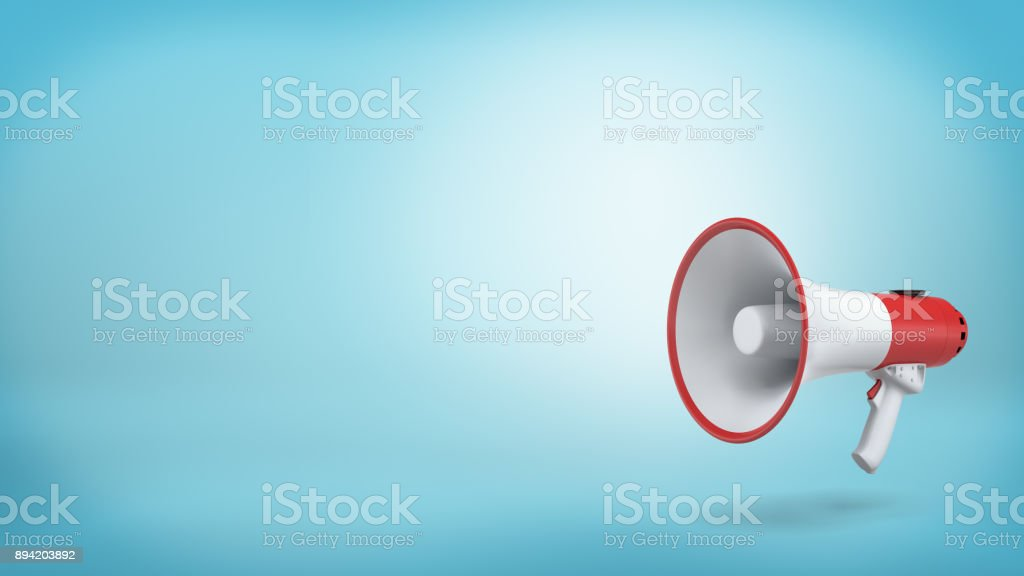 3d rendering of a single red and white electric megaphone with a handle stands on a blue background stock photo